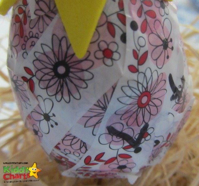 Washi tape is incredibly versatile - here we are decorating an egg for a simple Easter craft for you all.