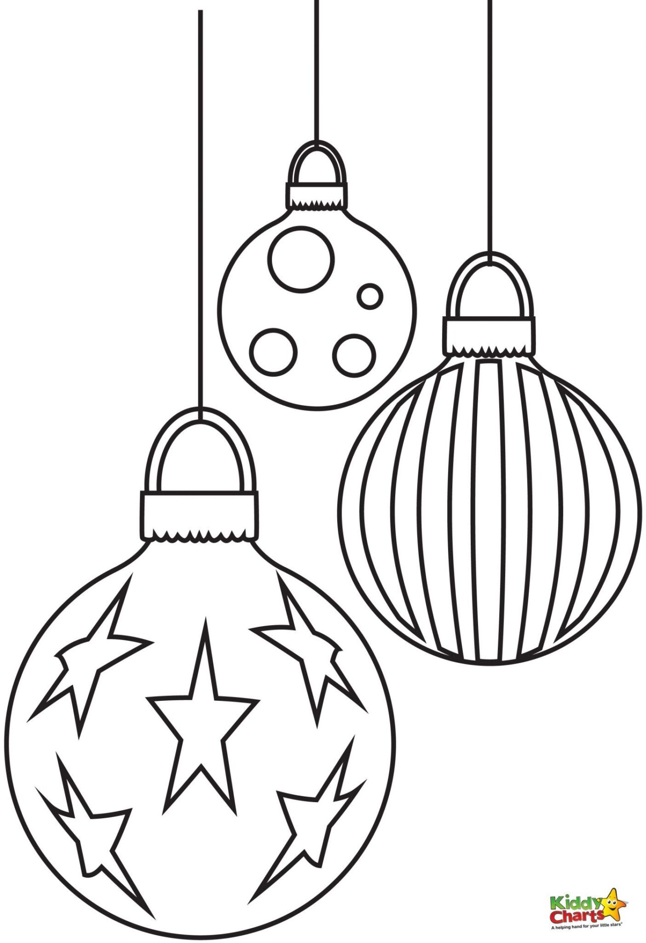 Baubles - Free Christmas Coloring Pages from Kiddycharts
