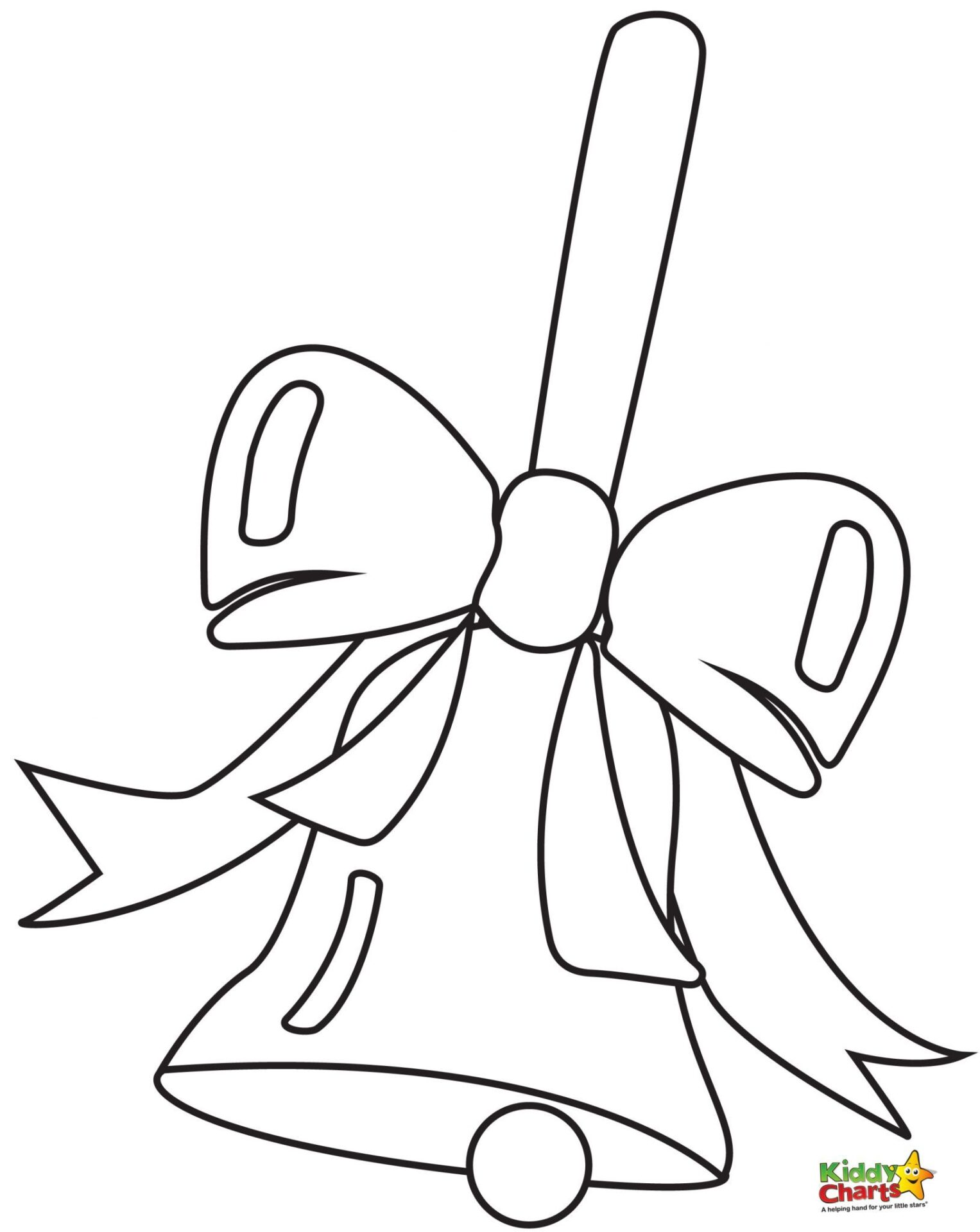 Bell with a Bow Printable Christmas Coloring Pages