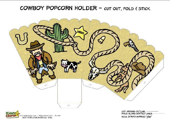 Printable Cowboy Popcorn Holder for Kids