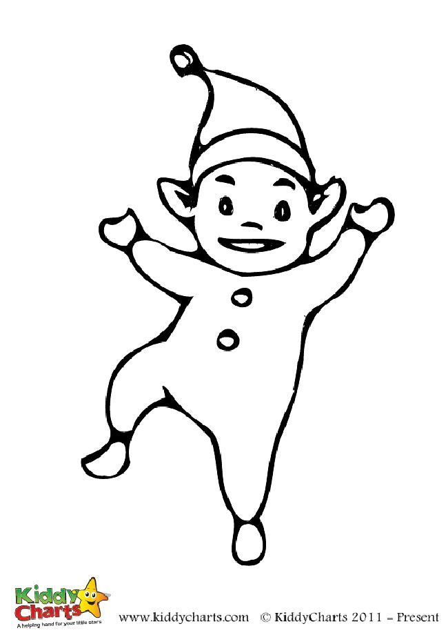 Free cute elf colouring page for the kids