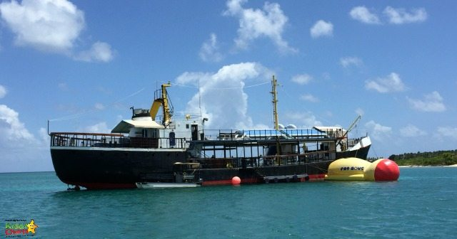 The D-Boat in Antigua is a refurbished Oil Tanker - made into a water park, as you can clearly see!