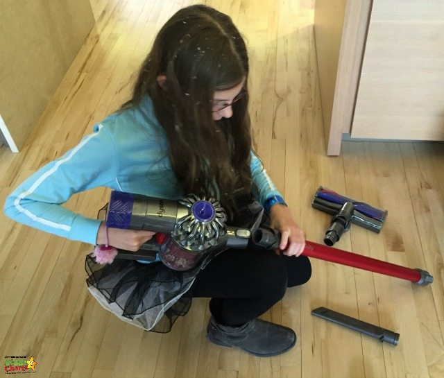 Dyson v6 Fluffy - gets the kids to clean...but not their hair!