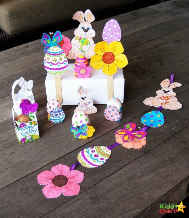 Today we have some gorgeous Easter Egg hunt printables for you to download; Easter basket, Easter signs that you can also turn into an Easter mobile as well, with a bit of string and a lollypop stick! Everything you need to make that perfect Easter Egg hunt for your kids, and family.