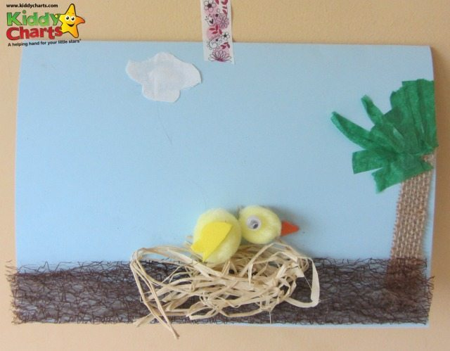 Are you looking for a simple easter card for kids? Well here is a chick card that my daughtyer, who is nine, came up with after we were given a few Easter craft items from Bostik...pretty good, huh? And most importantly really easy for a child to do!