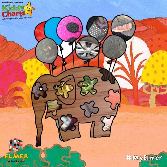 Elmer Photo Patchwork - play with some of the designs, and you can find a game within a game; creating mini shots in the balloons, and even a little game of guess the object!