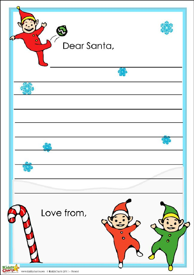 Santa letter for the kids - themed with elves and snow, so they can write on something special...