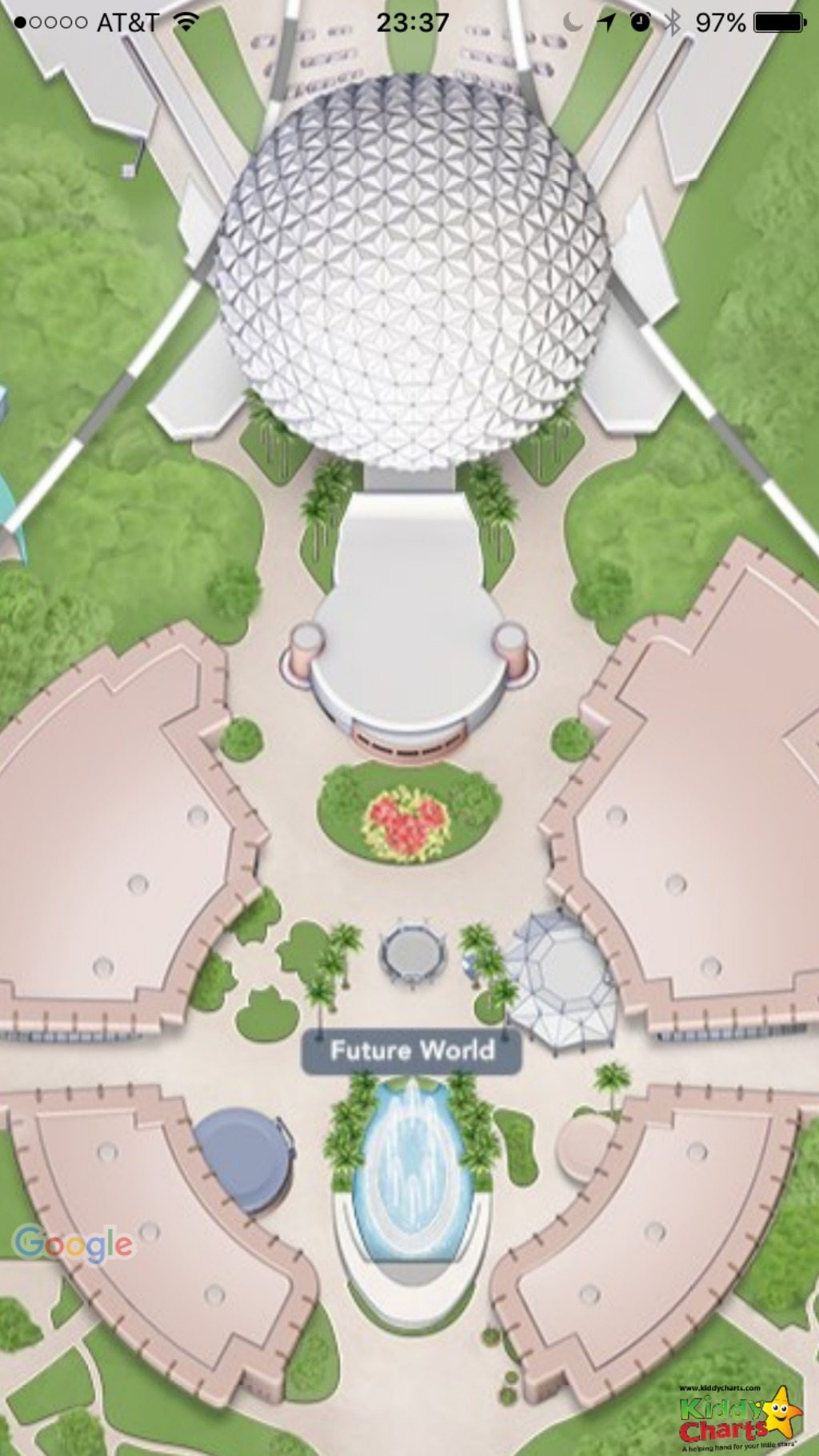 The Epcot map within the app is another location for one of our best hidden mickeys in Walt Disney World - look at the flower bed! Find others in the article - you'll love looking we promise!