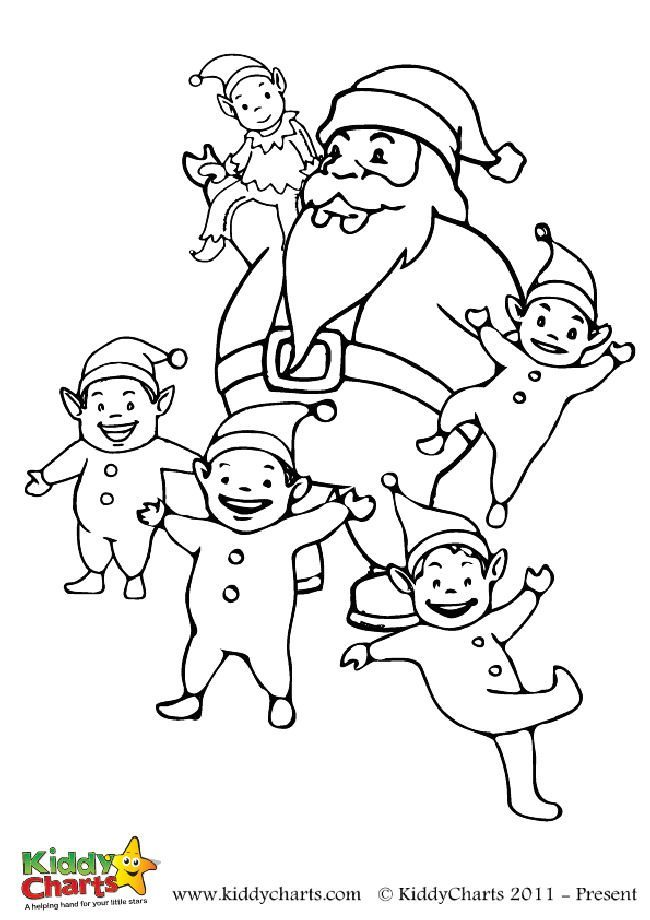 Free Santa and his little elf colouring page for kids