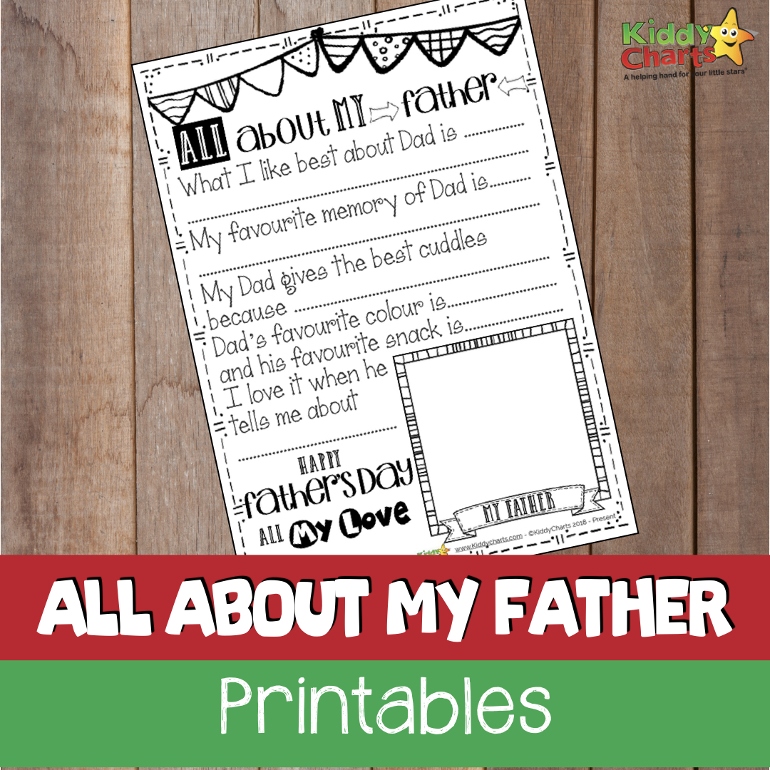 We have a lovely fathers day gift idea for you on the site today; visit to get an all about my Father certificate for the kids to colour in and fill out with you!