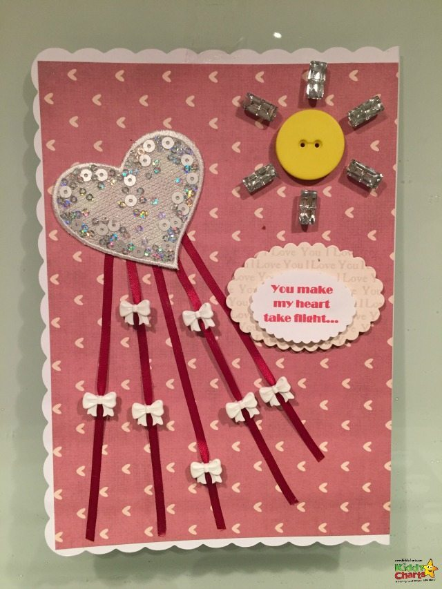 Here is our kite Valentines Card for you - pop along and see how we make this valentines card, and how you can adapt the design for littler and bigger hands to make too!