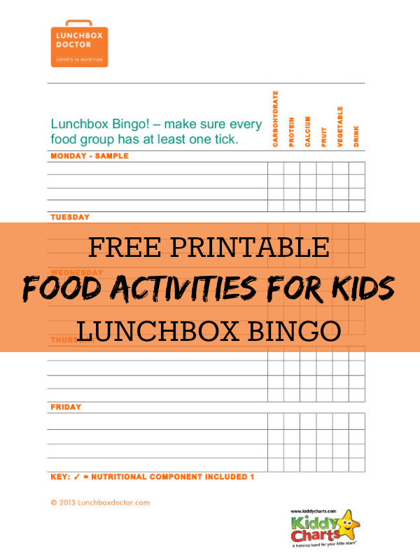 Free printablke food activities for kids - a wonderfully simple Lunchbox bingo game to keep kids interested!