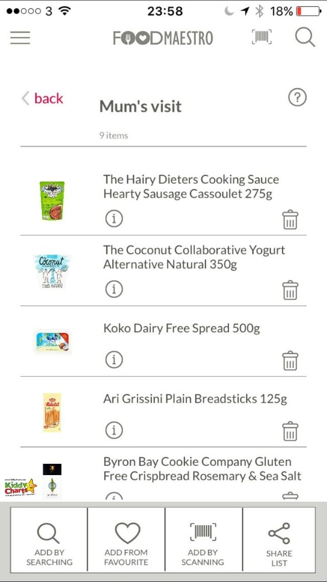 Food Maestro allows you to create specific lists and save them within the app. You can also choose favourite items as well.