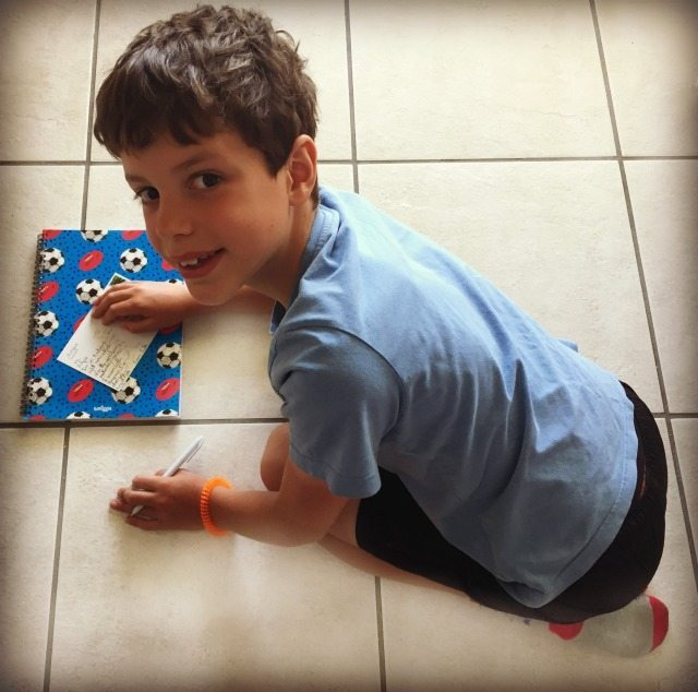 My son loves his Smiggle football pad for back to school, and for leaning on when writing his postcards!