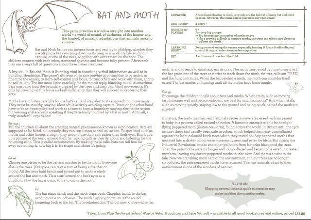 This is a lovely little forest school game that helps teach kids about echolocation. Get them to use their imagination as they pretend to be a bat, moth or trees together. Go on, download and give it a go now.