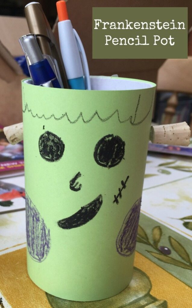 A simple frankenstein craft for halloween for the kids; decorating a pencil pot to make it look like Frank from Hotel Transylvania.