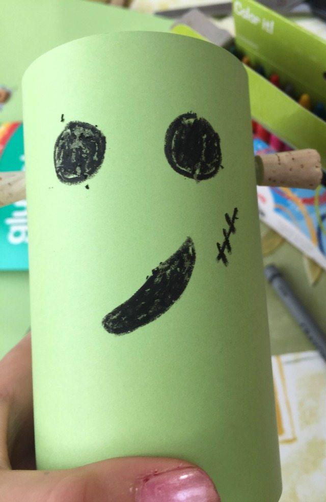 Frankenstein Halloween craft - colouring in Franks face