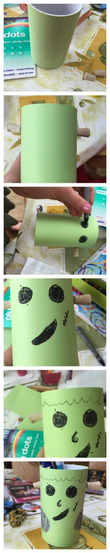 Easy Frankenstein craft for halloween for the kids. A pencil pot.