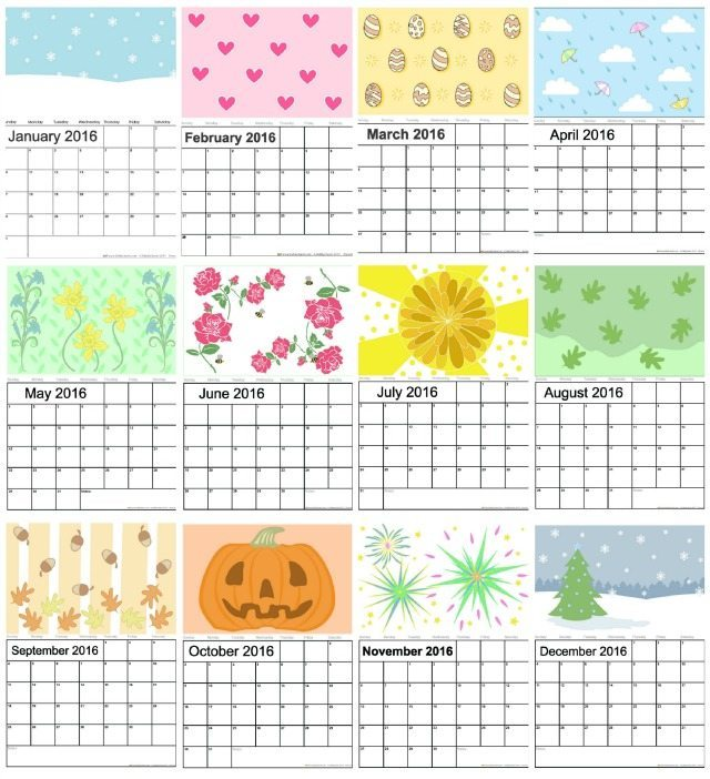 Are you looking to get organised in 2016 and for the New Year? Look no further than our 2016 calendar - lovely designs for you, and wherever you are you can print this out, add he main dates for you to remember, and you never need to forget a birthday or holiday again! A 2016 calendar is a perfect way to start off a new organised you....