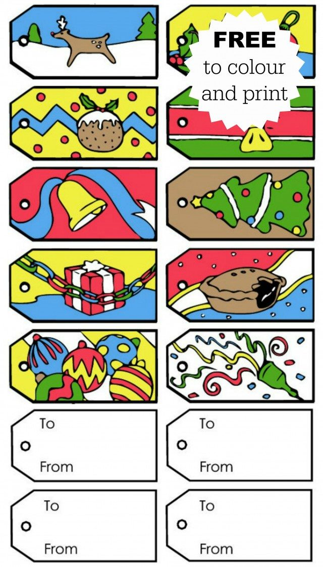 Christmas gift tags for kids to colour, or to print out for free for your Christmas presents