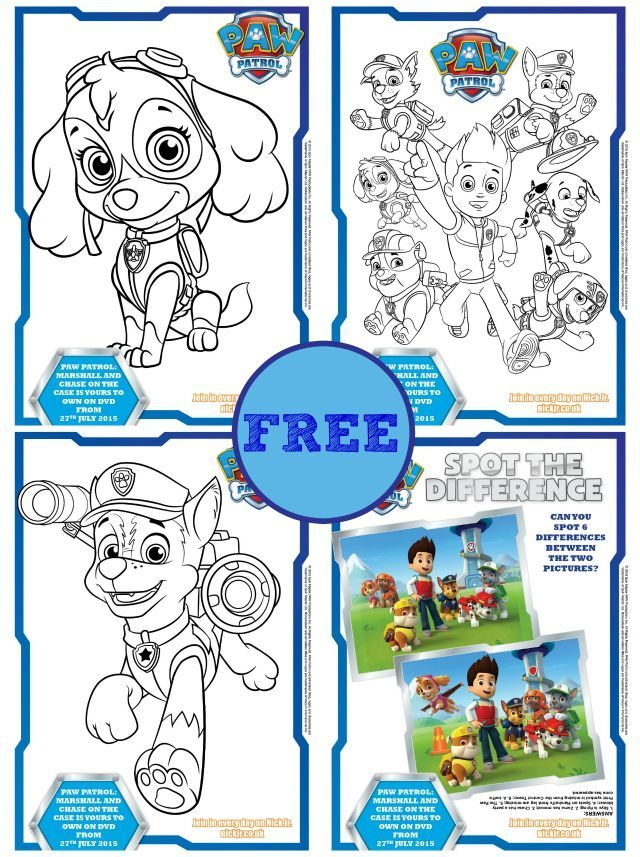 Free Paw Patrol coloring books & activity sheets | KiddyCharts