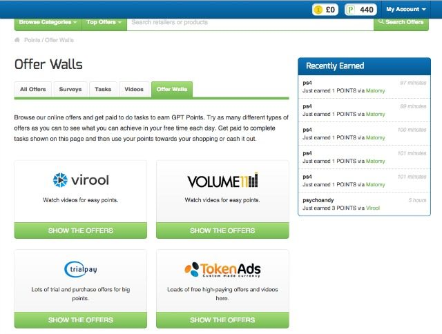 GetPaidTo - using the offerwall helps you see what offers are available and how many points they are worth