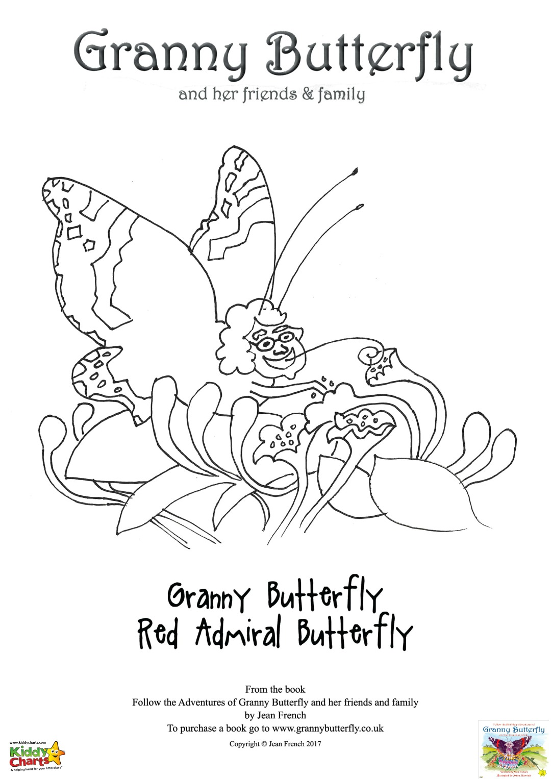 Granny Butterfly Colouring pages: Granny Butterfly herself!