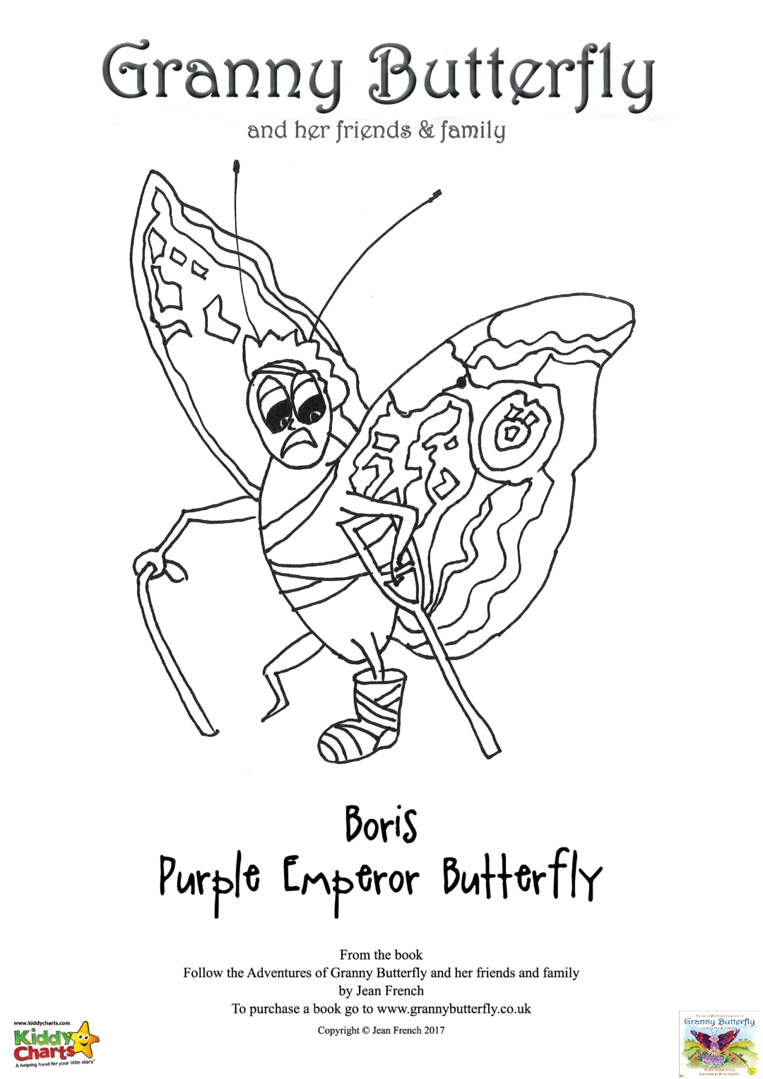 Granny Butterfly Colouring pages: Boris