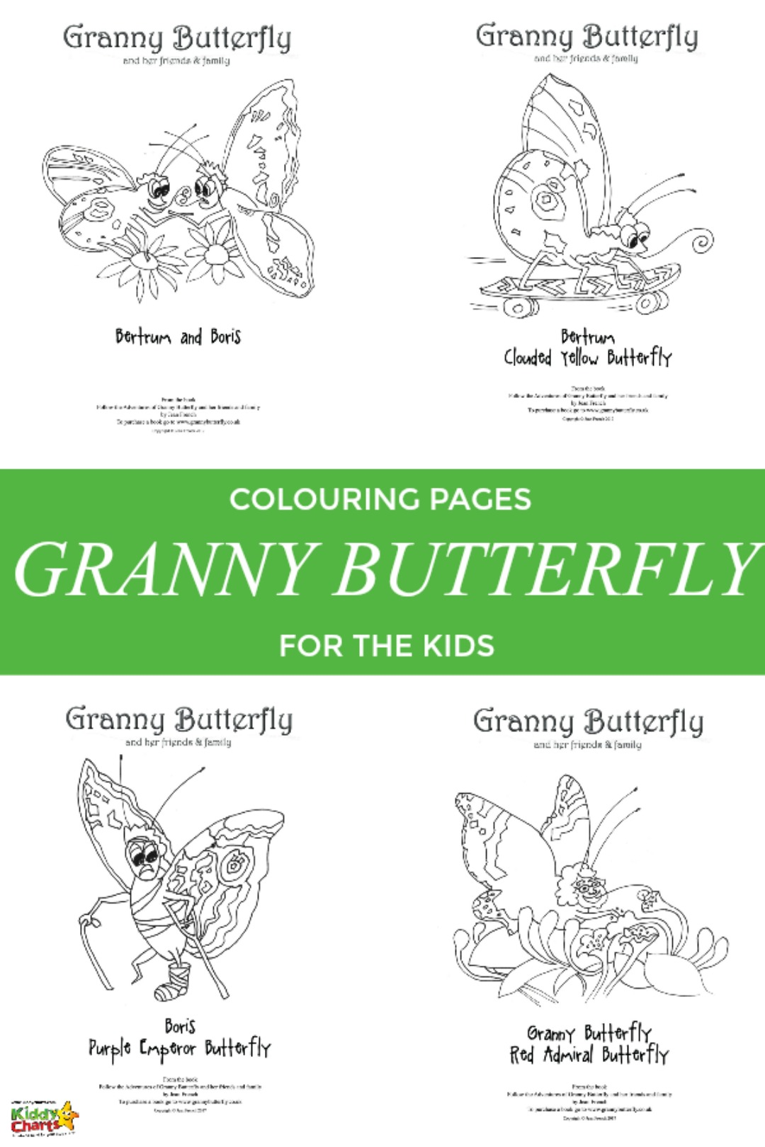Granny Butterfly colouring pages