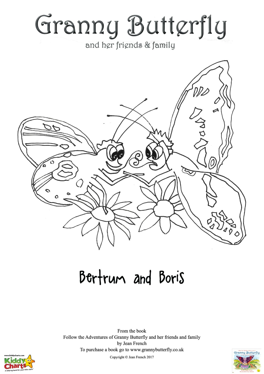 Granny Butterfly Colouring pages: Bertram and Boris