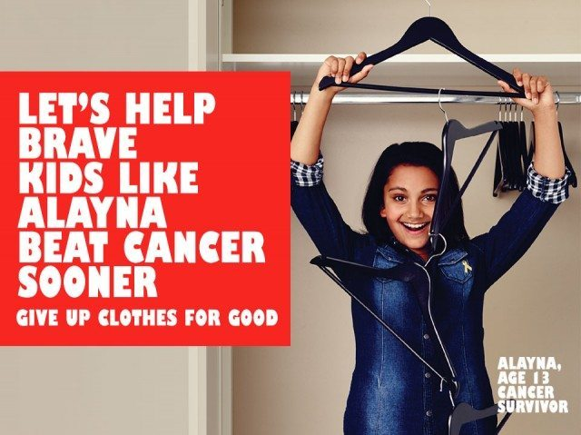 Already a cancer survivor at 13 - the TK Maxx Give up Clothes for Good aims to help kids like Alayna.