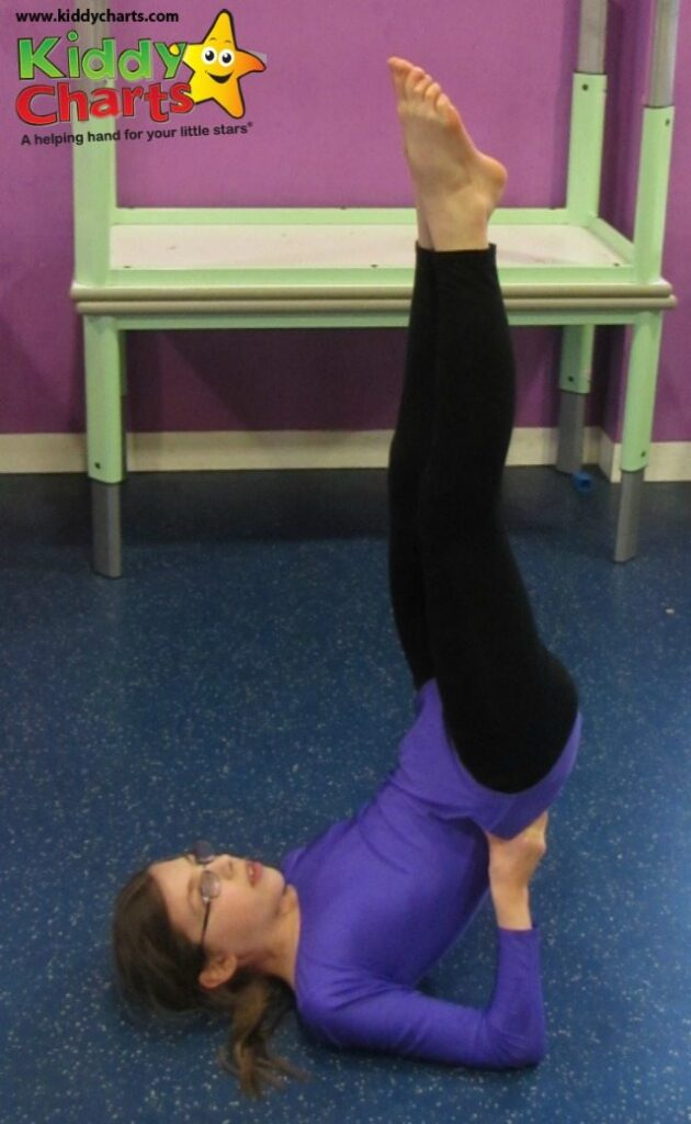 We are showing off our skills for head over heels about gymnastics - this is the candlestick apparently...