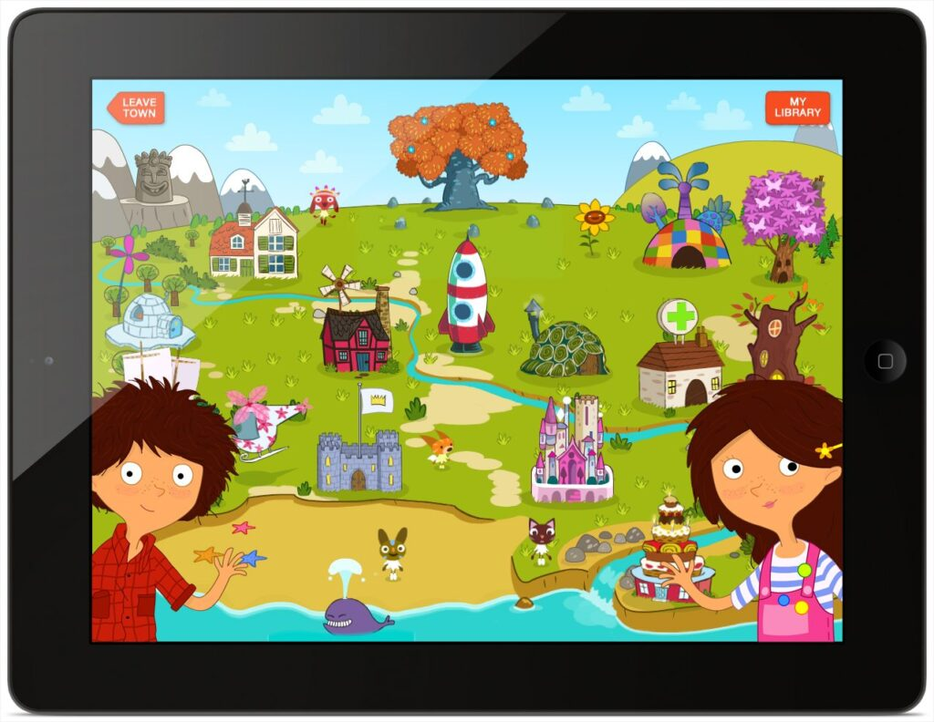 The Magic Town map on the iPad