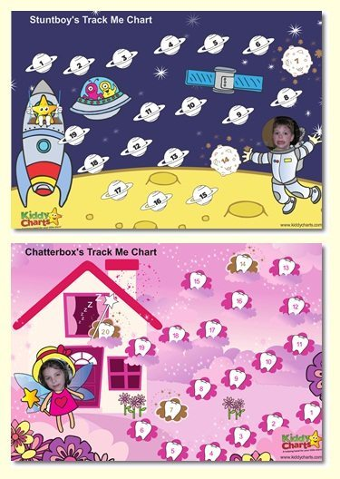 Spaceman Chart and Tooth Fairy Chart - Progress or Reward Charts new product at KiddyCharts