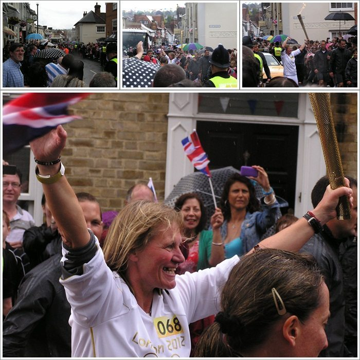 Olympic torch relay in Saffron Walden in 2012 in the rain