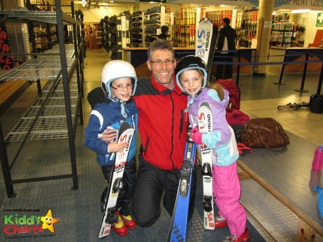 Getting ready for us to ski at the Hemel Snow Centre...go kids!