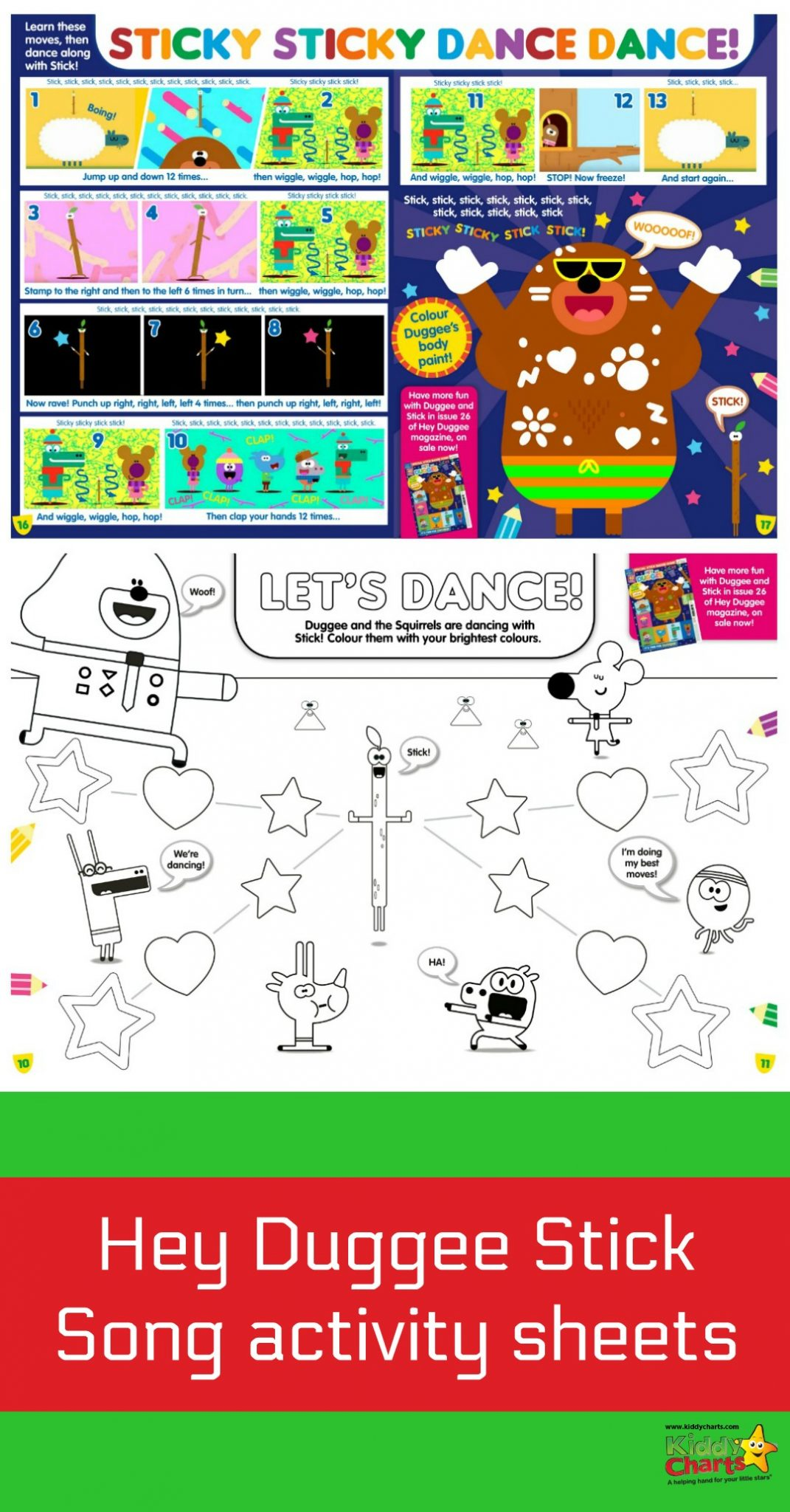 Check out the fabuloous Hey Duggee activity sheets we have from their Hey Duggee 'Special Stick Badge Issue' magazine which is out now. Learn the stick dance with ur kids! #kids #toddlers #dancing