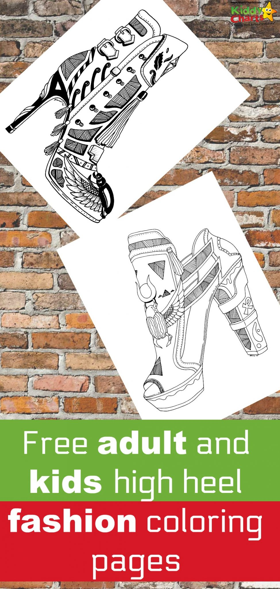 Download some fabulous free high heel shoe coloring pages to take you back to the 70s!