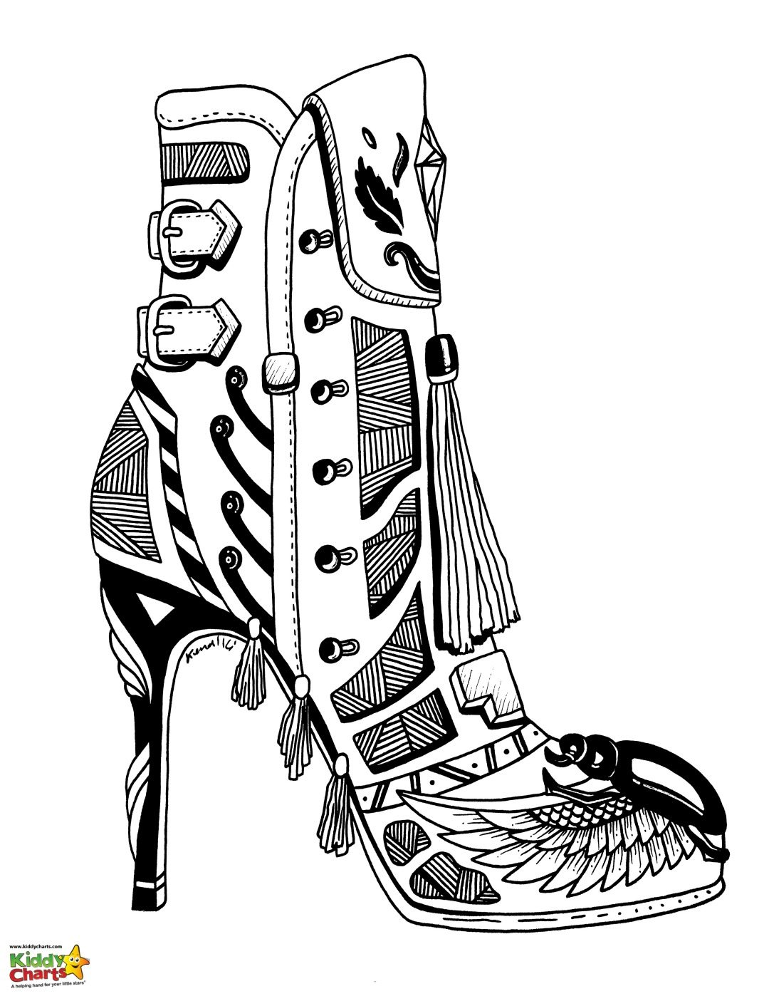 High heel shoe adult coloring page - a lovely 70s style!