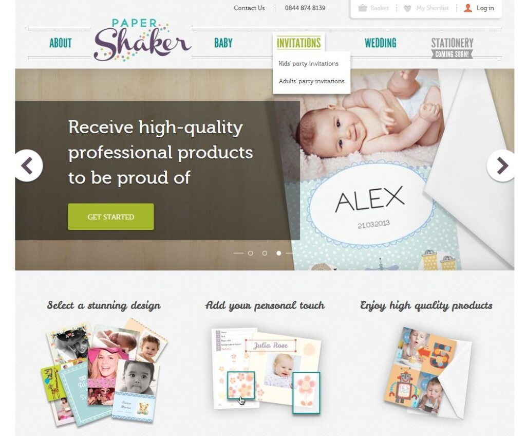 Invitation cards: PaperShaker homepage