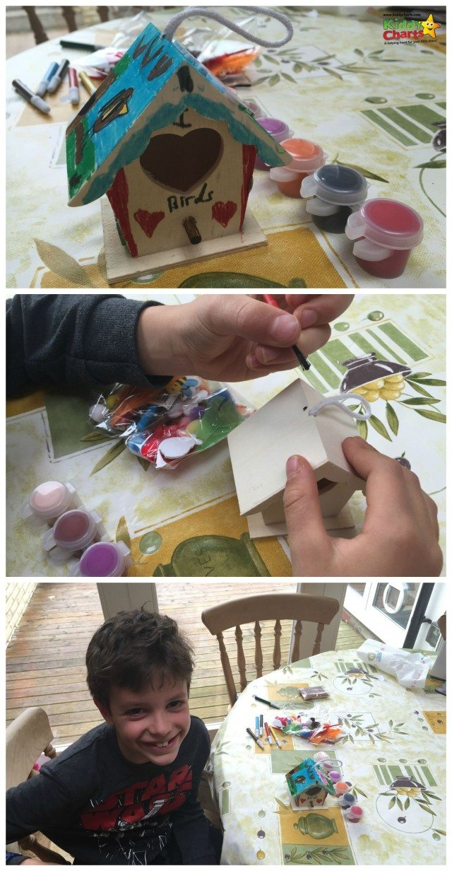 We have a lovely craft kit for you today to take a look at  - a wooden bird feeder; a great gift for Christmas and beyond. Look how much fun my son had making it!