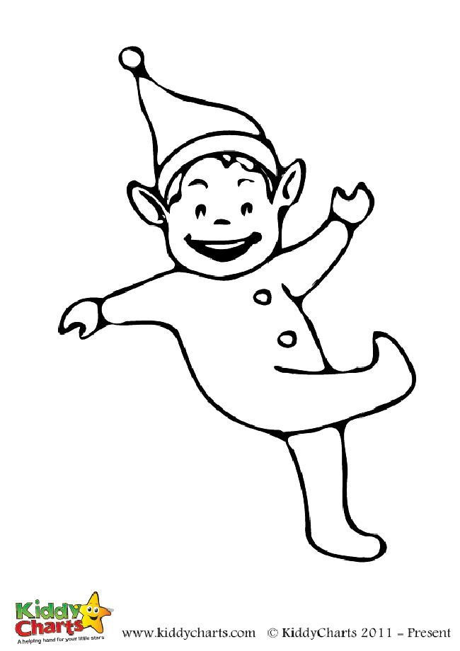 Free kicking elf colouring page for the kids