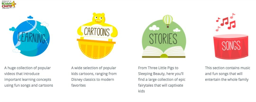kiddZtube videos are split into four different categories, so it is easy for children to find what they are looking for.