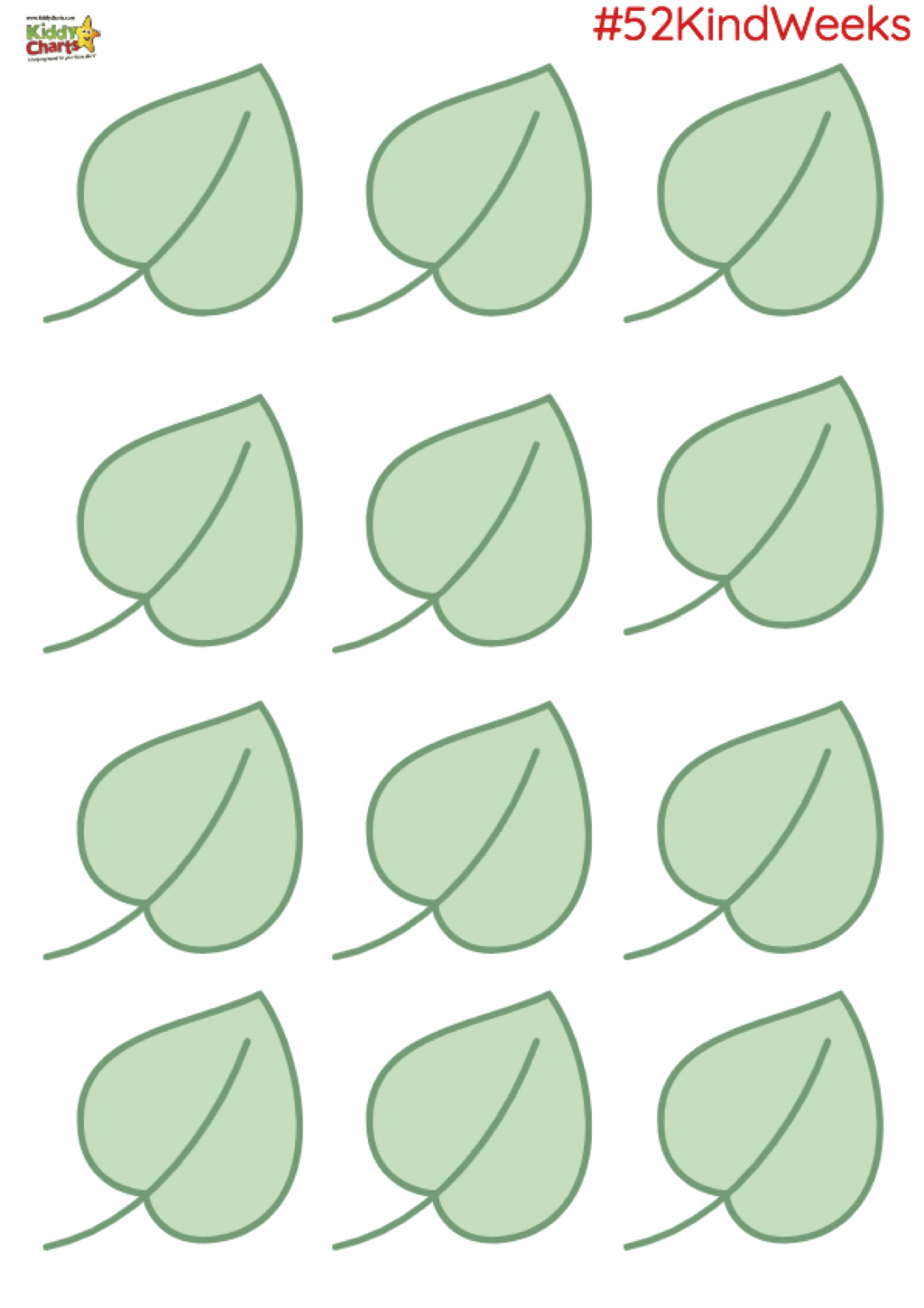 Here are the leaves for our Kindness Tree - we hope you enjoy making it. #52KindWeeks #Kindness #BeKind #homeschool