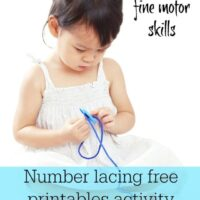 Printable number lacing cards for kids to sew