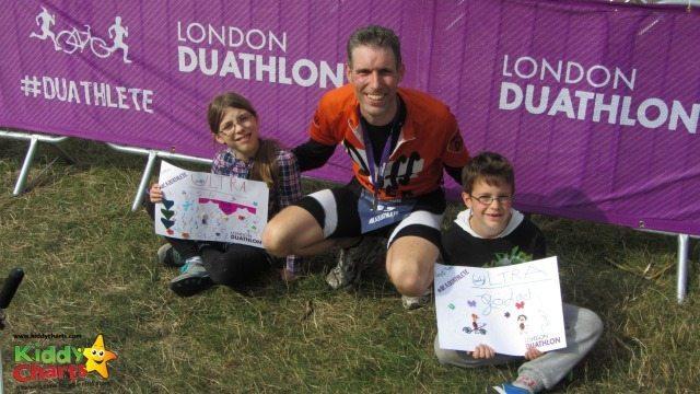 Finihsing the London Dualthlon and still smiling