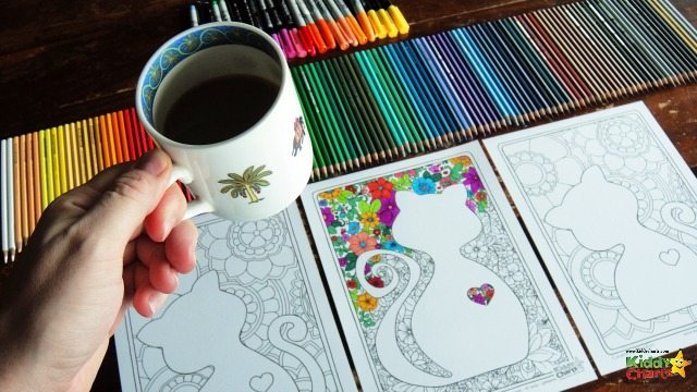 Maybe coloring these will give you enough time to get that much needed cup of tea? Download a cat adult coloring page for you, and a kitten for the kids. You can do them together now.