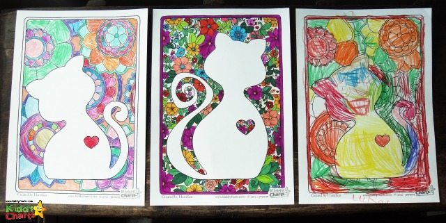 Coloring pages for cats you can do together. One for you, and one for the kids. Get coloring together by downloading it now.