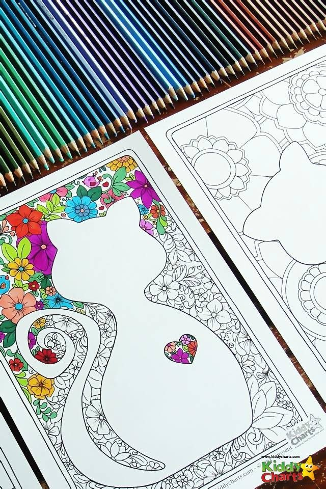 free cat mindful coloring pages for kids adults kiddycharts