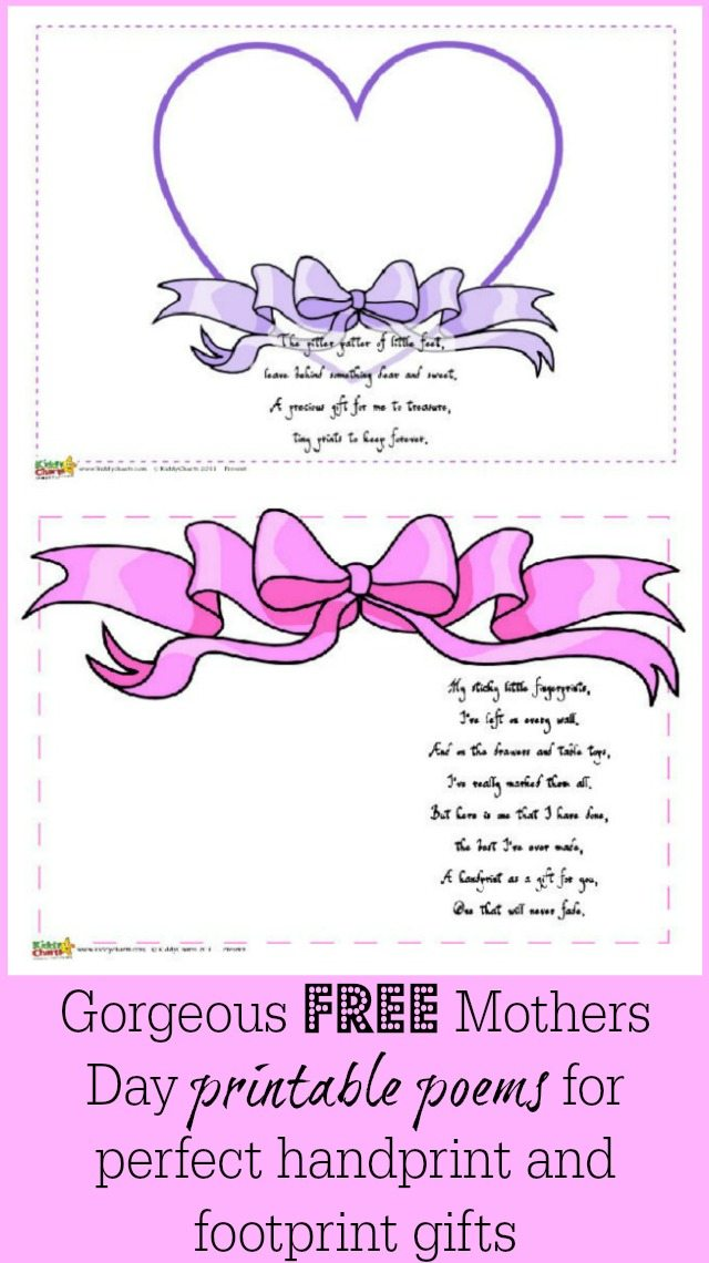 We have some lovely ideas for you - free Mothers Day poems for you to print out, add your child's footprint and handprints too. All to make a really simple Mothers Day gift. So easy, and such great value.